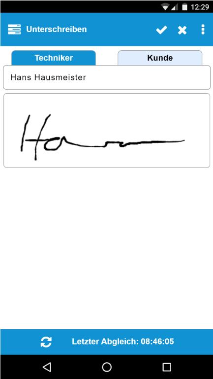 App - Unterschriftenfunktion