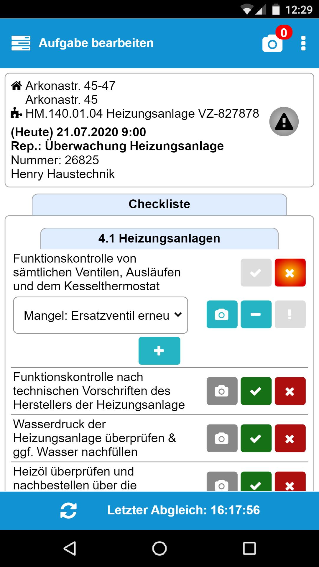 Checklisten abarbeiten mit der App