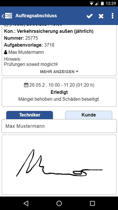 Unterschriftenfunktion in der TechnikerApp
